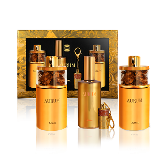 AURUM GIFT SET (2 EDP + COLOGNE + Key Chain With Solid Perfume:1.5gms each)