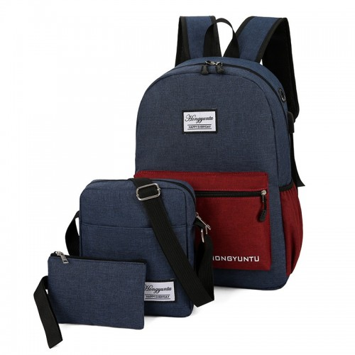Leisure Lightweight Waterproof Laptop USB Port Backpack Set